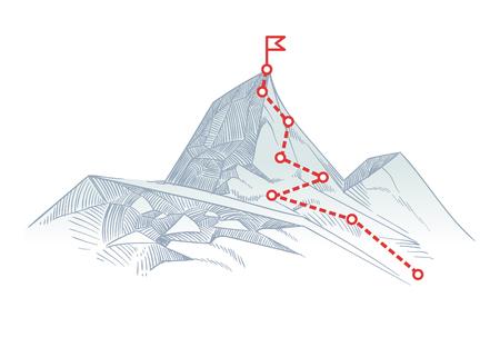 Trasa wspinaczkowa na szczyt. Ścieżka biznesowa w toku do koncepcji wektora sukcesu