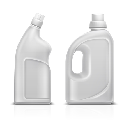 Household chemical blank 3d plastic white bottles. Toilet antiseptic cleaner bottle vector illustration isolated Vettoriali