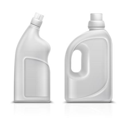 Household chemical blank 3d plastic white bottles. Toilet antiseptic cleaner bottle vector illustration isolated Vectores