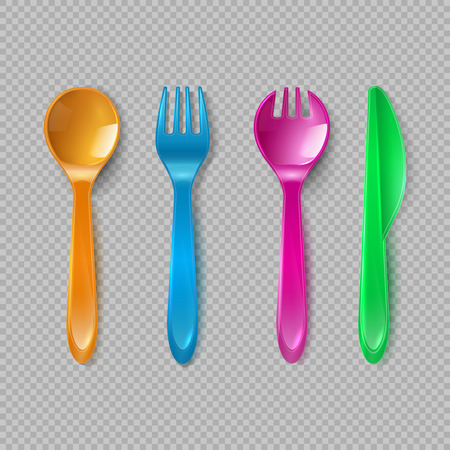 Kids plastic cutlery. Little spoon, fork and knife isolated. Disposable dishware, toy kitchen dining tools vector set