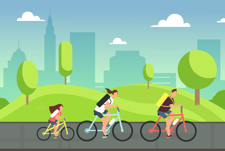 Happy family on bicycles. Healthy summer cycling with kids in park. Active people ride bike. Sports lifestyle Vector illustration. Illustration