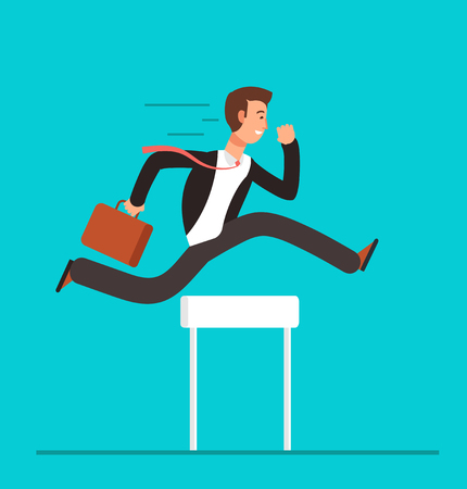 Businessman jumping over hurdles. Business challenge, successful overcoming vector concept