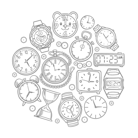 Set of doodle wrist watches in circular illustration.