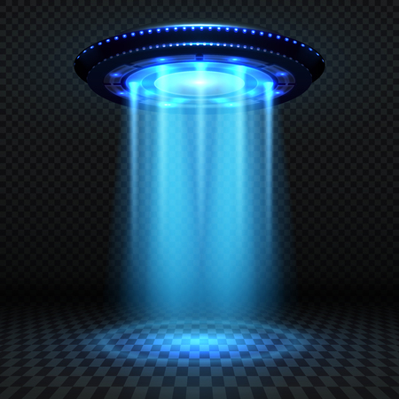 Aliens futuristic spaceship with blue lights, invasion concept illustration.