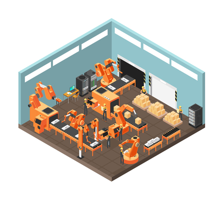 Isometric factory workshop illustration.