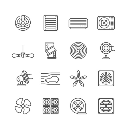 Heating and cooling airflow pictograms. Ventilation, airing filter, fan, blower, aerodynamics, turbine air vector icons