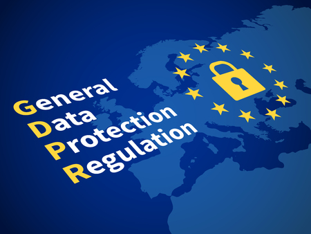 Gdpr general data protection regulation. Eu computer safeguard regulations and data encryption vector concept