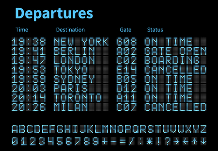 Departures and arrivals airport digital board vector template. Airline scoreboard with led letters and numbers