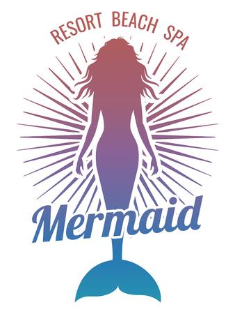 Mermaid silhouette stylized vector logo Stock Photo