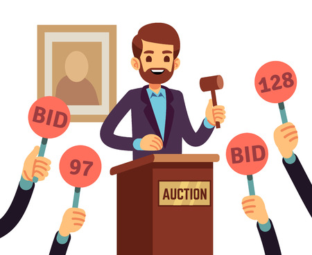 Auction with man holding gavel and people raised hands with bid paddles vector concept. Auction business, bid and sale, trade commercial illustration 向量圖像