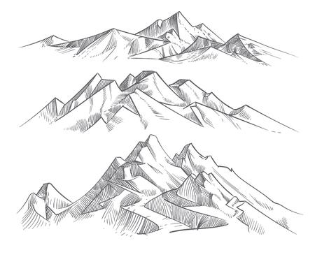 Dibujo a mano cordilleras en estilo de grabado. Vintage montañas panorama vector naturaleza paisaje. Boceto al aire libre pico, ilustración de la cordillera del paisaje