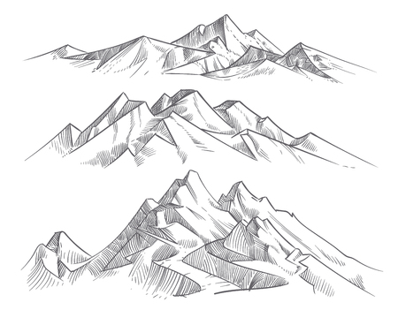 Hand drawing mountain ranges in engraving style. Vintage mountains panorama vector nature landscape. Peak outdoor sketch, landscape mountain range illustration