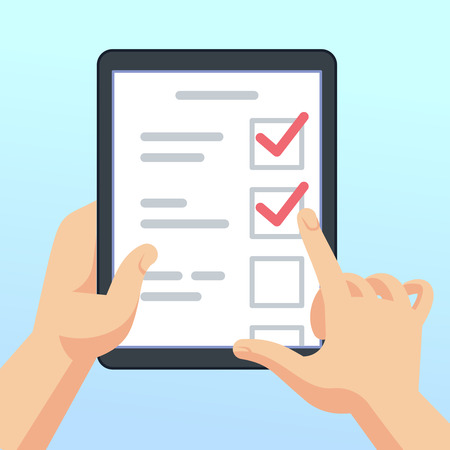 Hands holding tablet with online survey form, questionnaire. Mobile marketing feedback vector concept. Illustration of checklist and questionnaire list, tablet with feedback  イラスト・ベクター素材