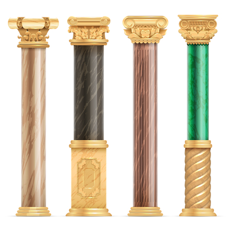 Classic arabic architecture golden columns with stone marble pillar vector set isolated. Marble column, pillar classical culture greece or roman illustration