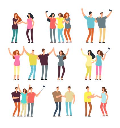 Neighbors men and women characters. Friends groups. Good neighborhood vector cartoon friendly people set. People man and woman character together illustration Ilustracja