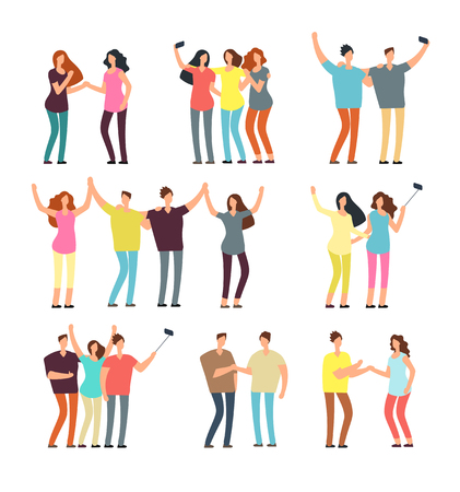 Neighbors men and women characters. Friends groups. Good neighborhood vector cartoon friendly people set. People man and woman character together illustration Illustration