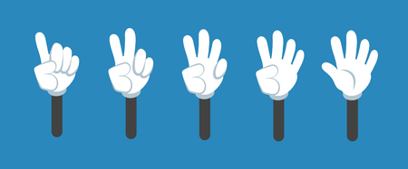 Cartoon counting hand with number gestures isolated set. Countdown with fingers vector symbols. Cartoon hand number fingers illustration
