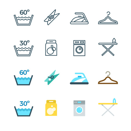 Housework and laundry washing line and flat icons of set. Vector illustration