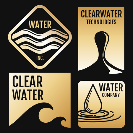 Water Vector Logos And Labels Set With Aqua Symbols On Black