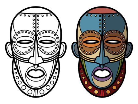 Mexican indian aztec masks coloring page of set isolated on white. Vector illustration