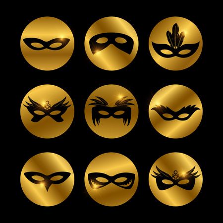 Party face masks icons with glowing elements of set isolated on black. Vector illustration