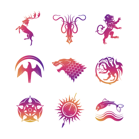 Bright heraldic vector icons with animals and throne symbols silhouettes illustration