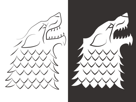 Heraldic style wolf head design. Line and silhouette wolf. Vector illustration Иллюстрация