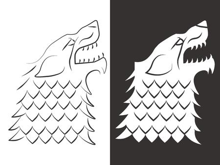 Heraldic style wolf head design. Line and silhouette wolf. Vector illustration Illustration