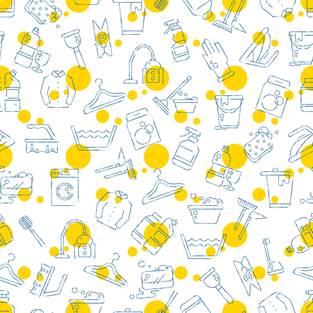 Cleaning, washing, housework seamless pattern design Stock Photo