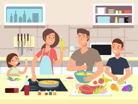 Cuisine familiale heureuse. Mère et père avec enfants cuisiner des plats en illustration vectorielle de cuisine dessin animé Vecteurs
