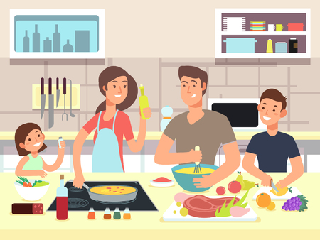 Happy family cooking. Mother and father with kids cook dishes in kitchen cartoon vector illustration Stock Illustratie