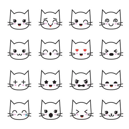 Cute Kitten Emoticon Collection Funny White Cat Emoji Vector