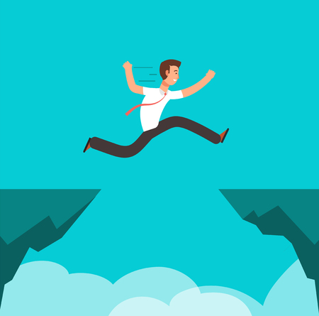 Businessman jumping over canyon. Business challenge, successful overcoming and risk vector cartoon concept
