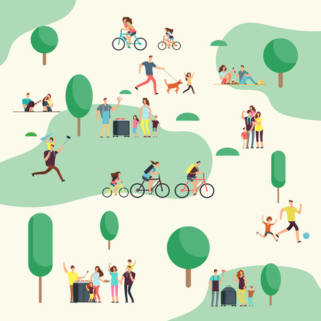 People groups on on bbq picnic. Happy families in various outdoor activity in summer park. Cartoon vector characters Foto de archivo
