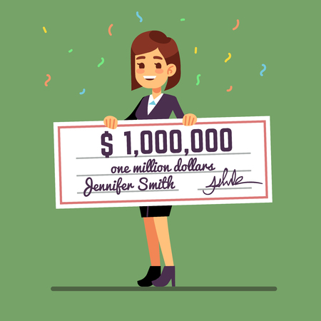 Young smiling woman holding money prize check for one million dollars. Cash lottery winnings and gambling vector concept