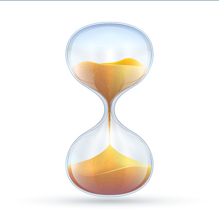 Vintage hourglass, 3d sand clock vector illustration isolated on white background