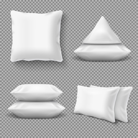 Realistic white comfortable pillows, home cushions with natural feather. Isolated vector mockup for bedding textile