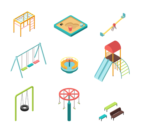 Isometric 3D outdoor kids playground cartoon elements icons