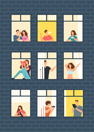 Cartoon man and woman neighbors in apartment design