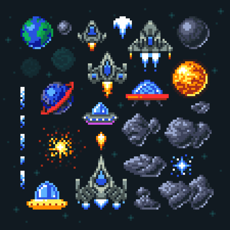 Retro space arcade game pixel elements. Invaders, spaceships, planets and ufo vector set Imagens