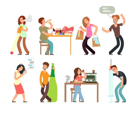 Bad habits unhealthy lifestyle. Alcoholism, drug addiction, smoking, gambling. Vector people set with bad habit, drug and alcohol illustration Vettoriali