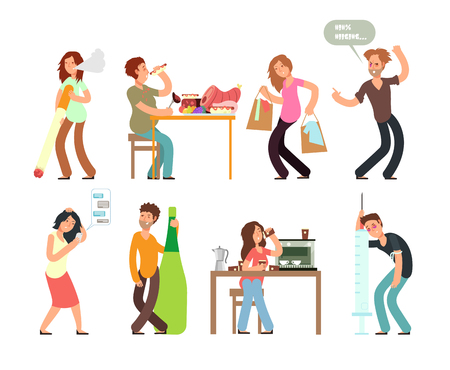 Bad habits unhealthy lifestyle. Alcoholism, drug addiction, smoking, gambling. Vector people set with bad habit, drug and alcohol illustration Illustration