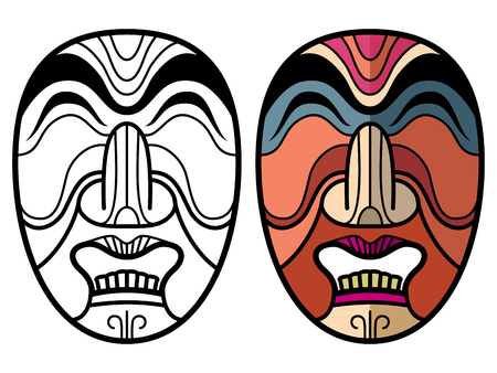 Mexican indian aztec traditional masks isolated on white background. African mask coloring page. Vector illustration Illustration