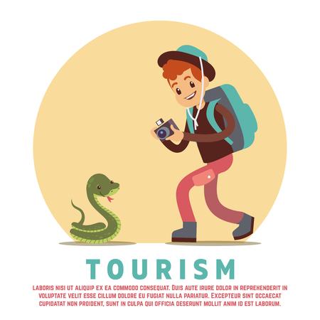 Tourism male tourist and snake vector illustration. Illustration