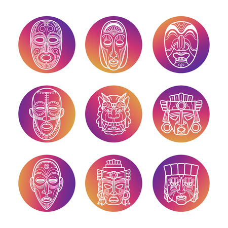 Bright icons with white African tribal vodoo masks. Illustration