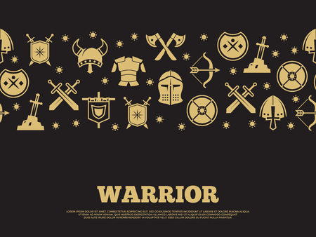 Vintage warrior background with medieval knights silhouette icons. 矢量图像