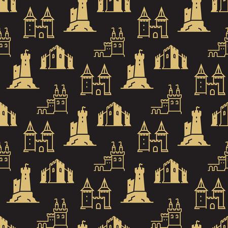 Castillos, fortaleza, baluartes ilustración de patrones sin fisuras.