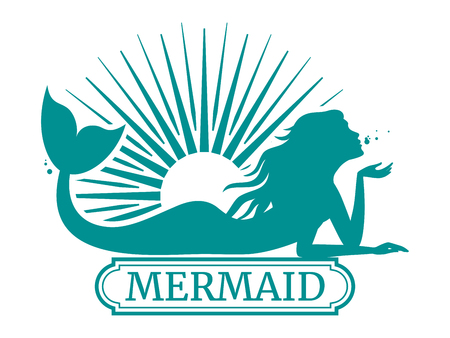 Mermaid silhouette and sun label design illustration.