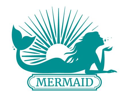 Zeemeermin silhouet en zon label ontwerp illustratie. Vector Illustratie