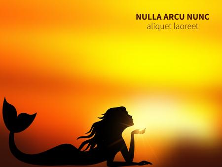 Romantic mermaid silhouette on sunrise illustration.